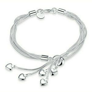 925 Sterling Silver Tia Chi Heart Tassel Bracelet